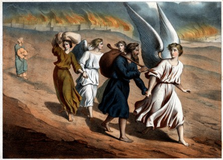 Two Angels Guiding Lot and His Daughters from Sodom 19th-Century Print